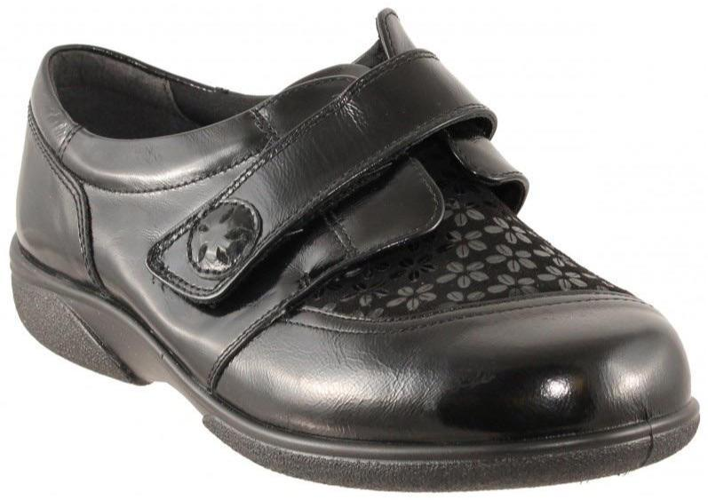 Easy B Keswick Ladies Black Stretch Shoe 6V Fit - Finn Footwear