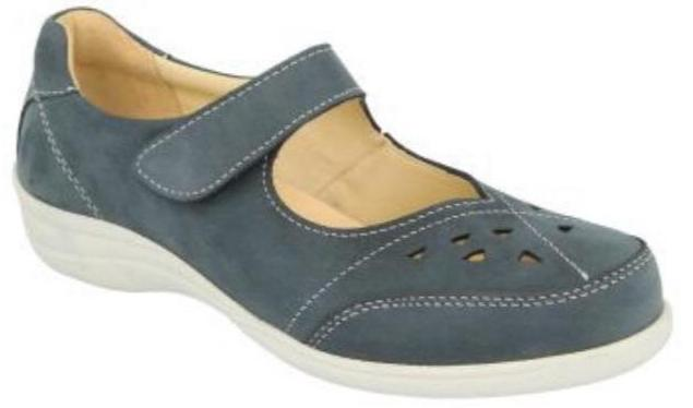 Easy B Miranda Ladies Sky Blue Velcro EE Fit Shoe - Finn Footwear