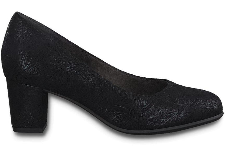 Softline by Jana Ladies Black/Flower Court Shoe 22468-25 - Finn Footwear
