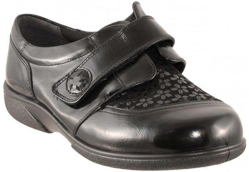 Easy B Keswick Ladies Black Stretch Shoe 2V Fit - Finn Footwear