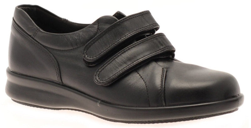 Easy B Naomi Ladies Black Double Velcro EE Fit Shoe - Finn Footwear