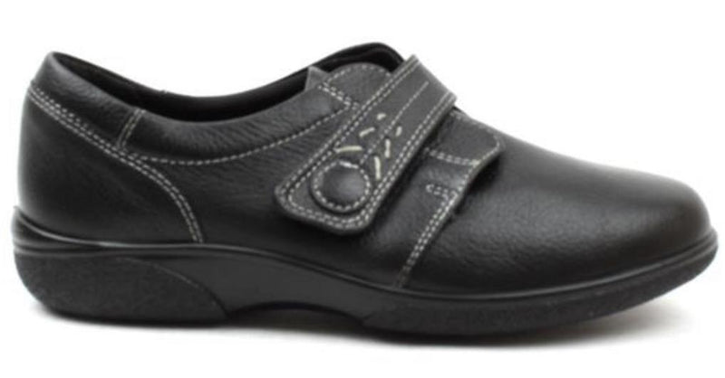 Easy B Healey Ladies Black Velcro EE Shoe - Finn Footwear