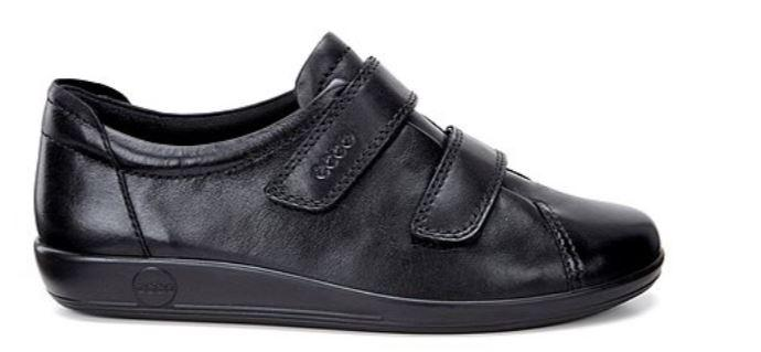 Ecco Soft 2.0 Ladies Black Double Velcro Shoe 206513 - Finn Footwear