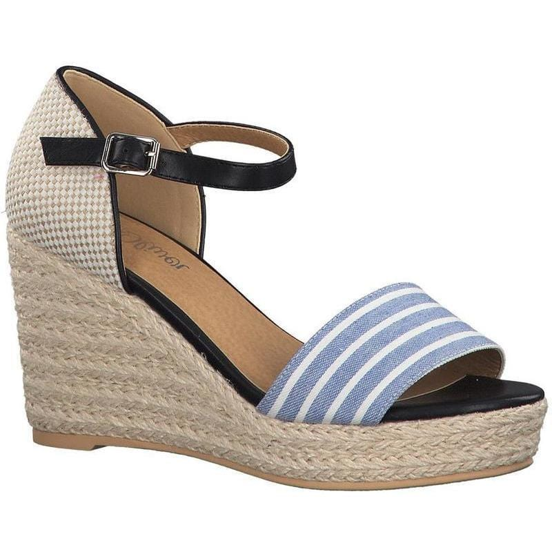 6becbcec97fe S.Oliver Ladies Navy Combination Wedge Sandal 28315-22 891 - Finn Footwear  ...