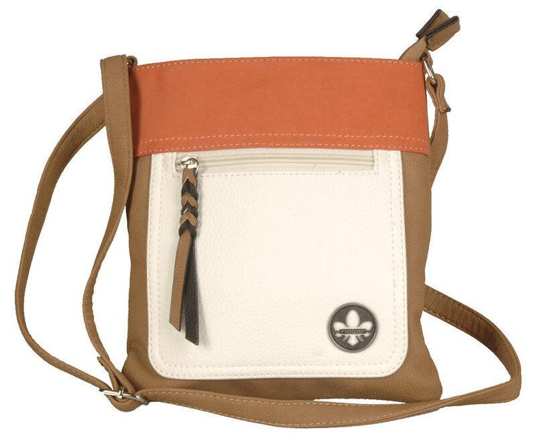 Rieker Ladies Crossbody Tan/White/Orange Handbag H1023-20 - Finn Footwear