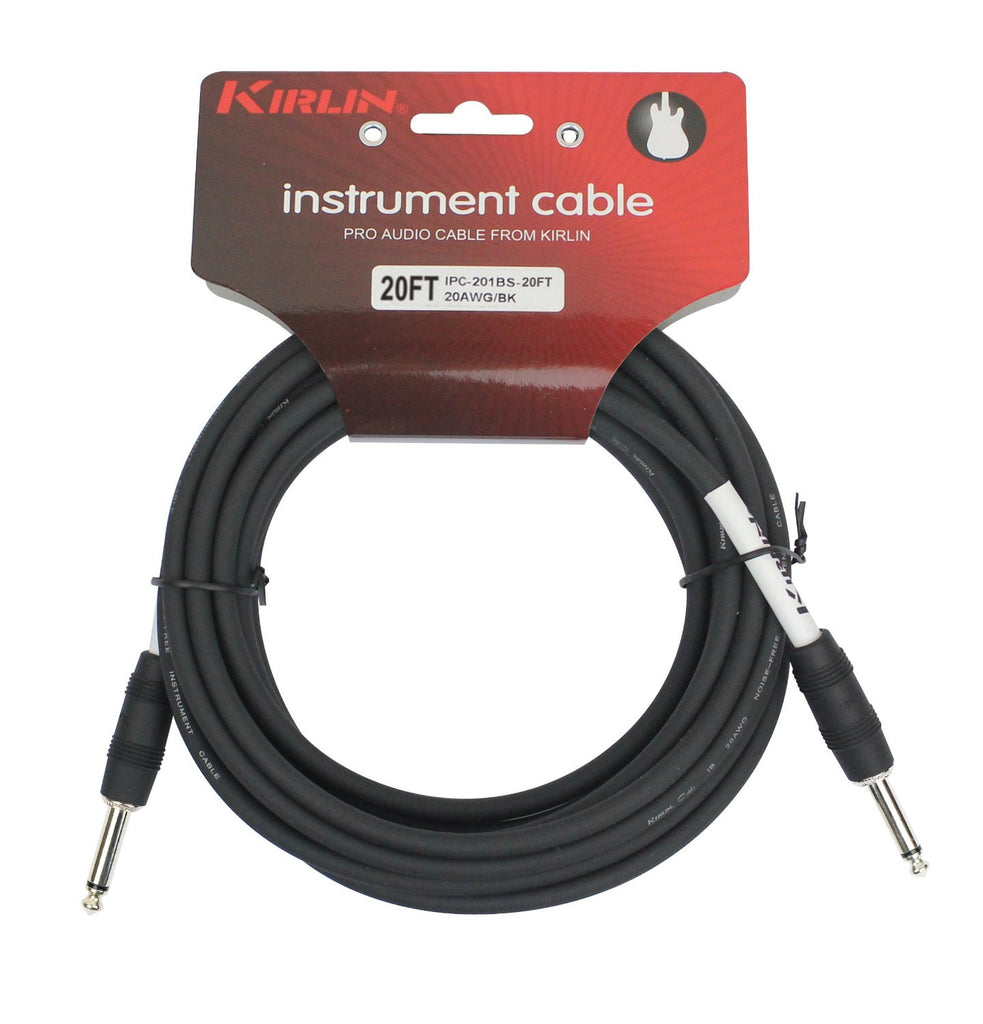 Kirlin Cable - 20 Feet - 1/4-Inch Straight Instrument Cable Black PVC Jacket - Sonido Live