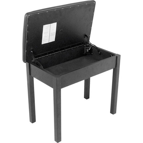 On-Stage KS8902B - Flip-Top Piano Bench with Music Compartment (Black)