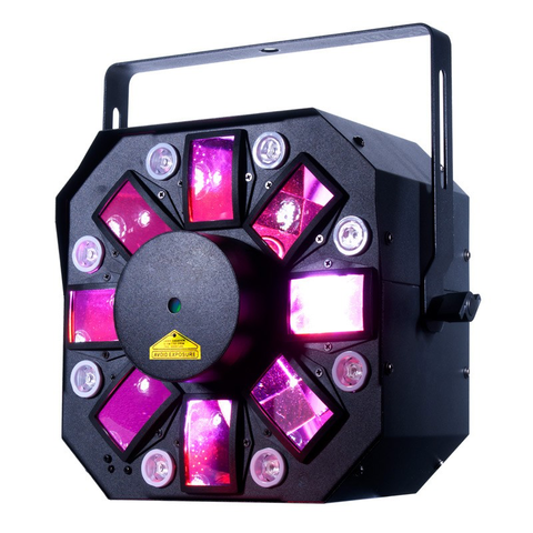 Similar to the Stinger 1, the ADJ Stinger II offers 3-FX-IN-1 mobile friendly fixture. What's different with the Stinger II is the eight 3W UV LEDs that offer a new dimension of excitement for mobile DJs, bands, small clubs and bars, roller rinks and bowling centers with its room-filling razor sharp beams of light.