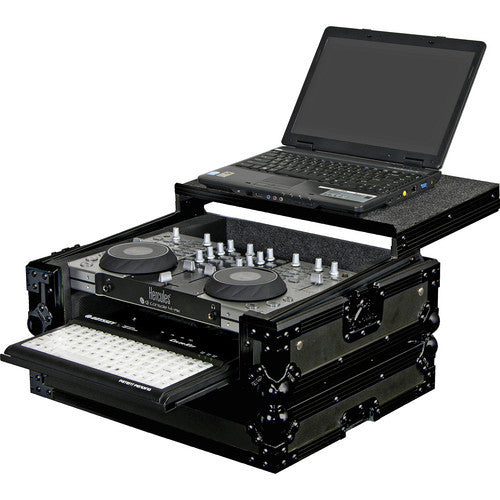 Odyssey FZGS4MXGTBL Hercules 4-Mx Black Label Glide Style DJ Controller Case with Bottom Pullout Tray - Sonido Live