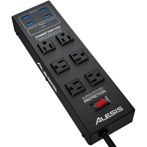 Alesis PowerTrip USB - 6-Outlet Power Strip and USB 3.0 Hub