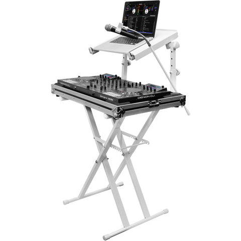 Odyssey LTBXS2MTCPWHT X-Stand Combo Dual Tier Heavy-Duty Folding Stand with Microphone Boom & Laptop/Gear Shelf