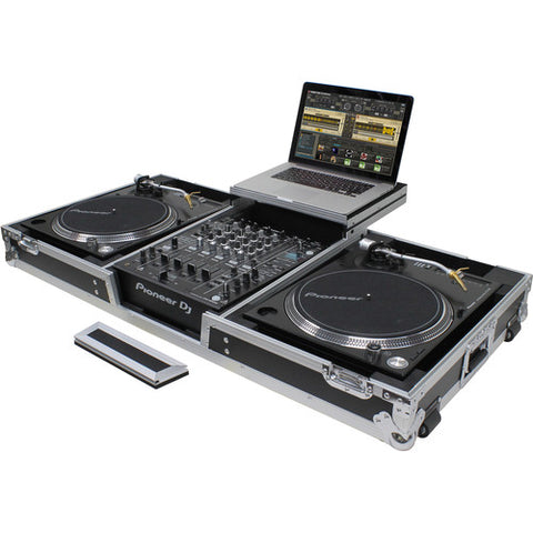 "Odyssey FZGSLBM12WR Flight Zone Low Profile Glide Style DJ Coffin for 12"" Mixer, Two Turntables (Battle Position) & Extra 2 RU"