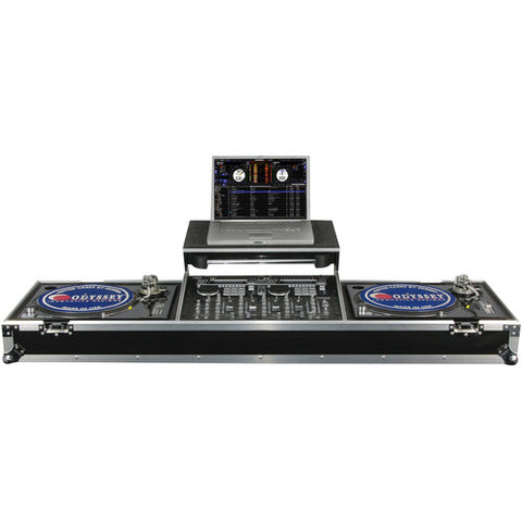 Odyssey FZGSDJ19WR Flight Zone Glide-Style DJ Coffin for 19-Inch Mixer & Two Turntables