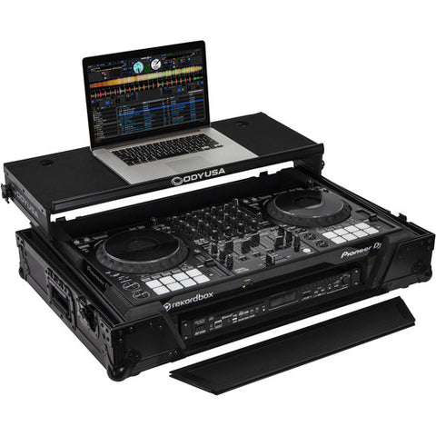 Odyssey FZGSDDJ1000W1BL Black Label Glide Style Case with 1 RU Bottom Rack for Pioneer DDJ-1000