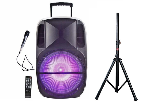 Ridgeway QS-3315BR Rechargeable LED Bluetooth DJ Speaker w/ Speaker Stand - Sonido Live