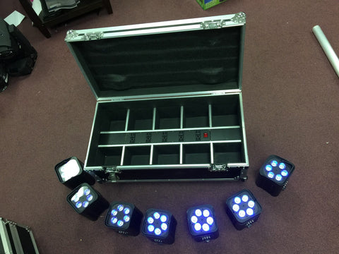 JMAZ Mad Par Hex 4S Wireless 4 * 12 W RGBWA+UV Uplight Package - 10 units + Charging Flight Case