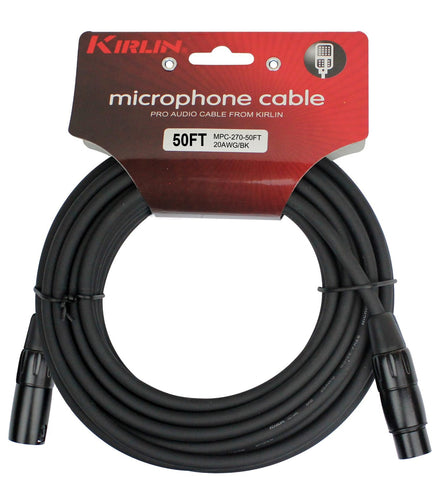 Kirlin Cable - 50 feet - XLR to XLR Microphone Cable Black PVC Jacket - Sonido Live