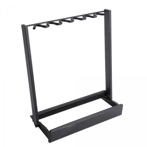 On-Stage GS7563B Side-Loading Guitar Rack, Black Wood