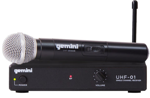 Gemini UHF-01M Single Channel Wireless UHF System and Handheld Microphone with 150-ft Operating Range