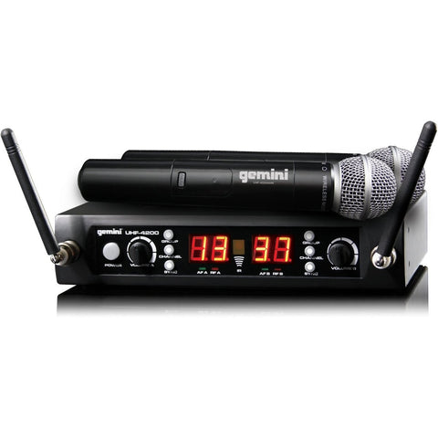 Gemini UHF-4200M Dual 100-Channel Wireless Handheld Mic System - Sonido Live