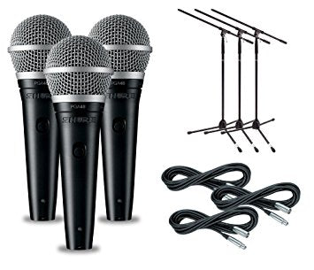 Shure PGA48 3-Pack Microphone and Stand Package - Sonido Live