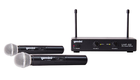 Gemini UHF-02M Dual Channel Wireless UHF Handheld Wireless Microphone System with 150-ft Operating Range