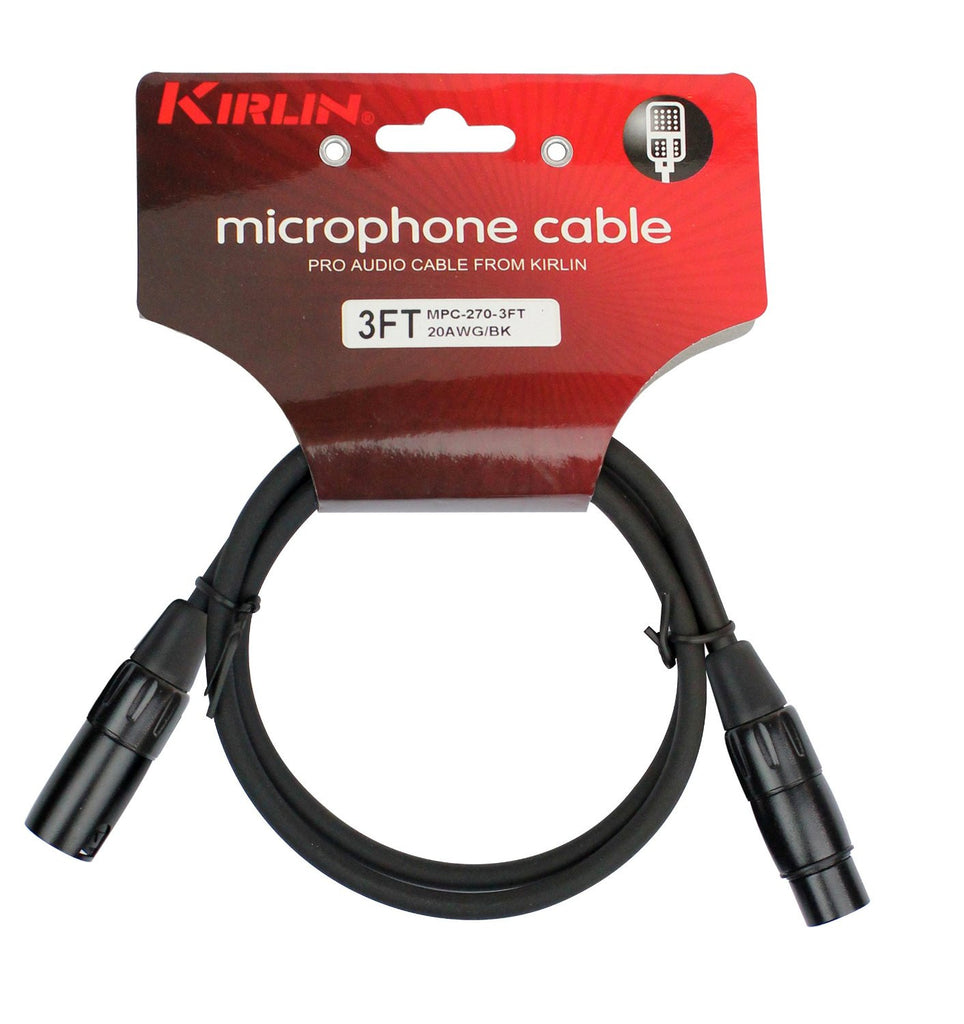 Kirlin Cable - 3 feet - XLR to XLR Microphone Cable Black PVC Jacket - Sonido Live