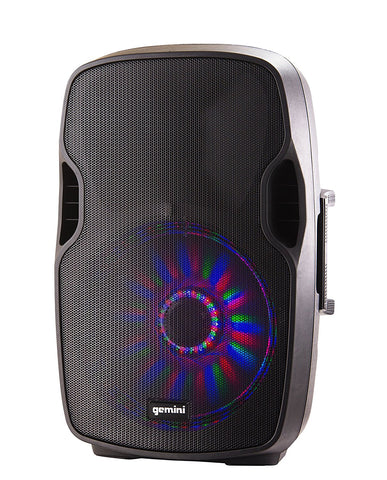 Gemini AS-08BLU Bluetooth 8-inch Portable Active PA Loudspeaker with Built-In LED Effects