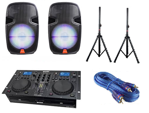Ridgeway QS-3715BR DJ Package w/ Gemini CDM4000 CD MP3 Media Player - Sonido Live