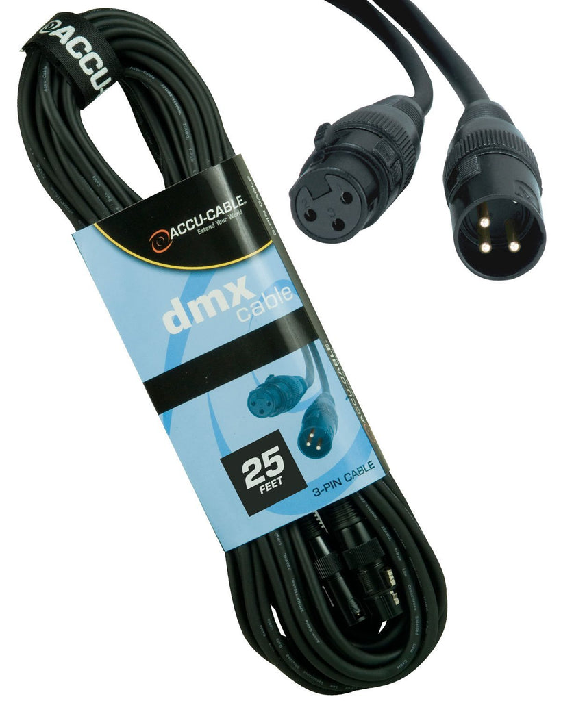 Accu-Cable 3-Pin XLR (F) to XLR (M) DMX Cable 25Ft