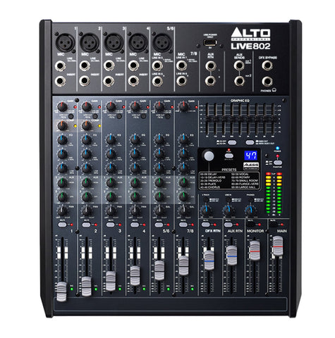 Alto Live 802 8 Ch PA Mixer w/ USB & DSP Effects
