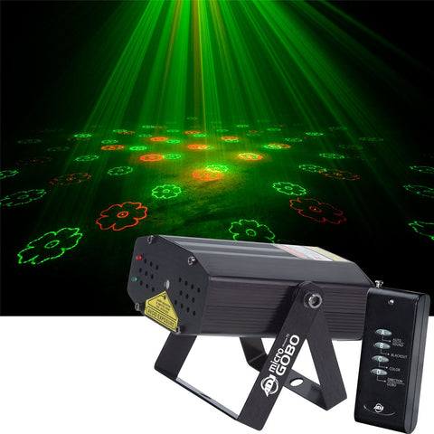 Get any party started with the American DJ Micro Gobo II! This green and red laser produces more than 200 beams with 8 gobo patterns that may be projected on a wall, ceiling or dance floor.