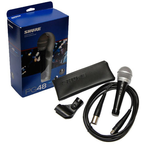 Shure PG48-XLR Cardioid Dynamic Vocal Microphone with XLR-to-XLR Cable - Sonido Live
