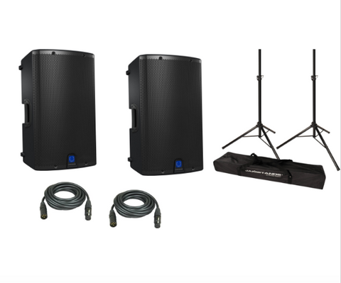 "Turbosound IX12 Powered 12"" DJ Speaker Package with Ultimate Support stands - Sonido Live"