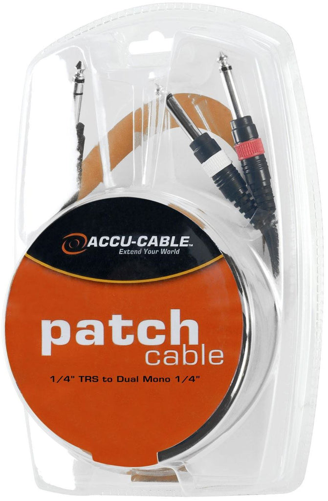 Accu-Cable TRSY6 6Ft Dual 1/4Mono To 1/4 Trs Cable