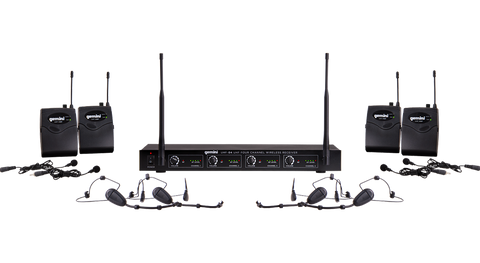 Gemini UHF-04HL 4-Channel Headset & Lavalier Wireless Microphone System