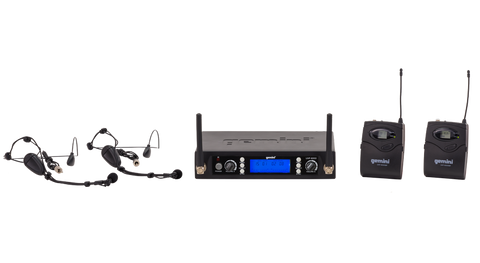Gemini UHF-6200HL Dual Channel UHF Wireless Headset/Lavalier Microphone System - Sonido Live
