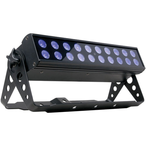 The American DJ UV LED BAR 20 is a high output ultraviolet LED backlight that comes with a wireless remote for easy control of On/Off and strobe speed.