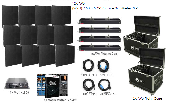 American DJ AV6 4x3 LED Video Panel System Package