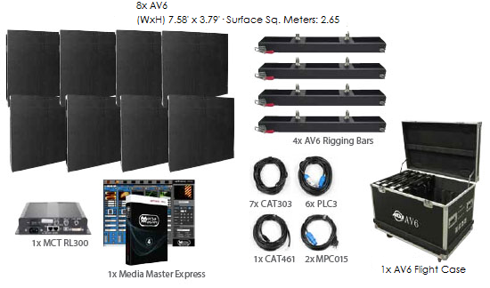 American DJ AV6 4x2 LED Video Panel System Package