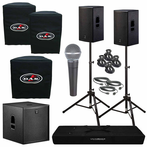 "D.A.S. Action 15A 15"" Powered Speakers & Action 18A Subwoofer Package with Shure SM58 microphone - Sonido Live"