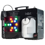 The American DJ Fog Fury Jett is a high velocity vertical Fog Machine that mixes color into the fog from 12x 3-Watt RGBA LEDs