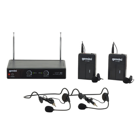 Gemini VHF-02HL Dual Channel Wireless Microphone System - Sonido Live
