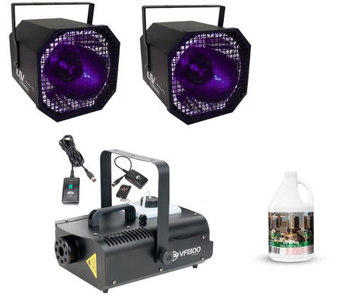American DJ VF1300 Fog Machine & 2x UV Cannon Halloween Package