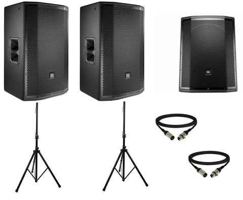 JBL PRX DJ Package w/ (2) PRX815 Powered Speakers & (1) PRX818XLFW Powered Subwoofer w/ Speaker Stands & Cables - Sonido Live
