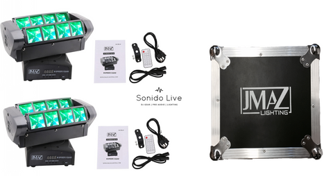 JMAZ M Spider 8 Quad Moving Head Light 8 x 12W RGBW Quad LED Lighting DJ Package - Sonido Live