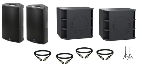 Turbosound Milan Live Sound Package w/ (2) Milan M15 Powered Speakers & (2) Milan M18B Powered Subwoofers - Sonido Live