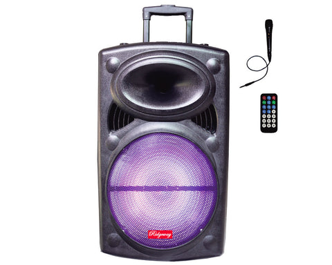 "Ridgeway QS-1219 12"" Portable Bluetooth Party DJ Karaoke PA Speaker 3000W Rechargeable USB FM AUX - Sonido Live"