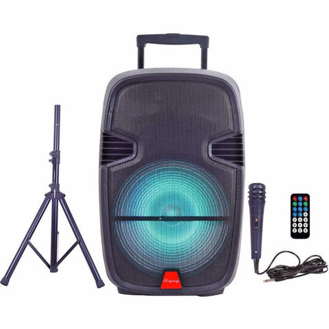 "Ridgeway QS-2195BS Pro 15"" Party DJ Karaoke Portable Bluetooth PA Speaker with STAND, MICROPHONE, Remote - Sonido Live"