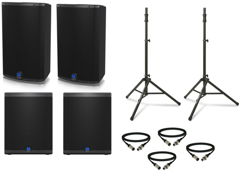 "Turbosound IQ Package w/ (2) IQ15 Powered 15"" Speakers & (2) IQ15B Powered 15"" Subwoofers - Sonido Live"